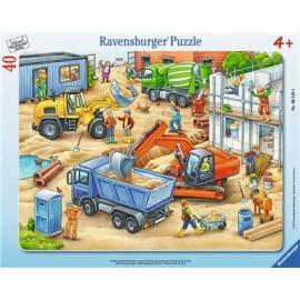 Ravensburger Puzzle - Rahmenpuzzle - Große Baustellenfahrzeuge, 40 Teile