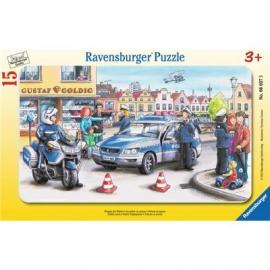 Ravensburger Puzzle - Rahmenpuzzle - Einsatz der Polizei, 15 Teile