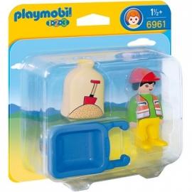 PLAYMOBIL® 6961 1.2.3 - Bauarbeiter mit Schubkarre