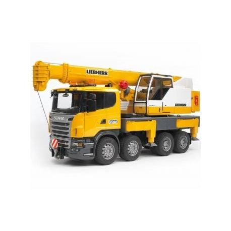 BRUDER - Scania R-Serie Liebherr Kran-LKW mit Light & Sound Module