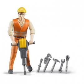 BRUDER bworld - Bauarbeiter mit Zubehör