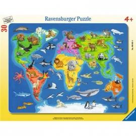Ravensburger Puzzle - Rahmenpuzzle - Weltkarte mit Tieren, 30 Teile
