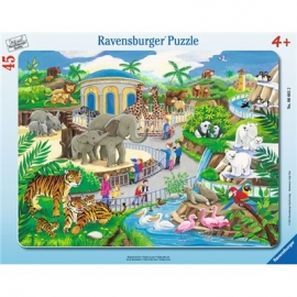 Ravensburger Puzzle - Rahmenpuzzle - Besuch im Zoo, 45 Teile
