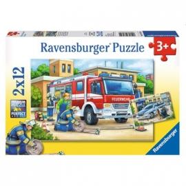 Ravensburger Puzzle - Polizei und Feuerwehr, 2x12 Teile