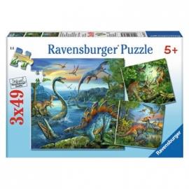 Ravensburger Puzzle - Faszination Dinosaurier, 3 x 49 Teile