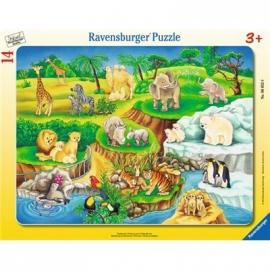 Ravensburger Puzzle - Rahmenpuzzle - Zoobesuch, 14 Teile