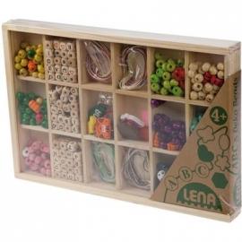 Lena - Holzspielzeug - Holzperlen in Holzkassette, groß