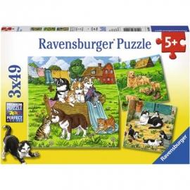 Ravensburger Puzzle - Süße Katzen und Hunde, 3x49 Teile