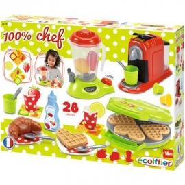 Ecoiffier - 100% Chef - Frühstücks-Set mit Waffeleisen