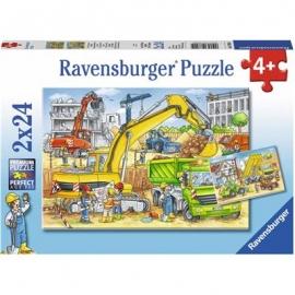 Ravensburger Puzzle - Viel zu tun auf der Baustelle, 2x24 Teile