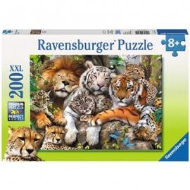Ravensburger Puzzle - Schmusende Raubkatzen, 200 XXL-Teile