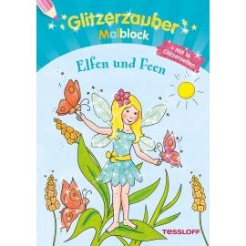 Tessloff - Malen, Rätseln & mehr - Glitzerzauber-Malblock - Elfen und Feen