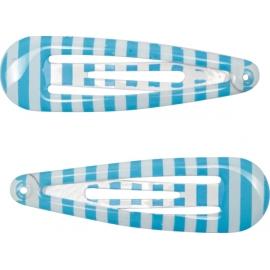 Haarclip blau Streifen + Punkte  beautif