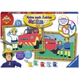 Ravensburger Spiel - Malen nach Zahlen Junior - Feuerwehrmann Sam