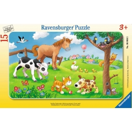 Ravensburger Puzzle - Rahmenpuzzle - Knuffige Tierfreunde, 15 Teile