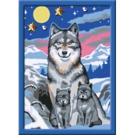 Ravensburger 277841 Malen nach Zahlen Serie E Süße Wolfsfamilie (Brilliant) D