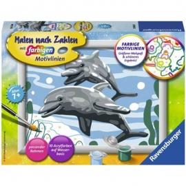 Ravensburger Spiel - Malen nach Zahlen - Freundliche Delfine