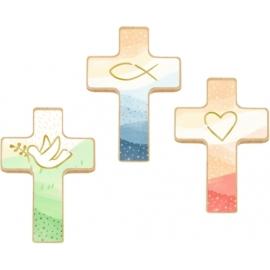 Holzkreuz auf Büchl.: Du bist geborgen in Gottes Hand, sortiert