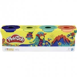 Hasbro - Play-Doh 4er Pack Wild dunkelblau, limettengrün, türkis und orange