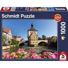 Schmidt Spiele - Puzzle - Bamberg, Regnitz und Altes Rathaus, 1000 Teile