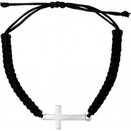 Geknüpftes Armband mit Kreuzanhänger (versilbert)
