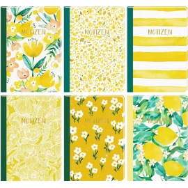 Notizhefte DIN A5 - All about yellow (6 x 2 Ex.sort.)