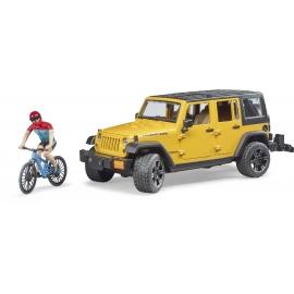 Bruder - Jeep Wrangler Rubicon Unlimited mit Mountainbike und Radfahrer