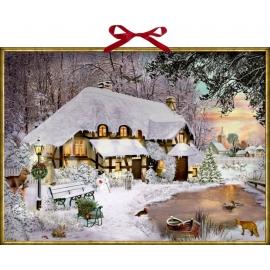 Winterliches Cottage, Wand-Adventskalender (B.Behr)