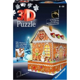 Ravensburger Spiel - 3D Puzzle - Gingerbread House Nightedition, 216 Teile