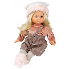 Schildkröt Puppe Schlummerle 32 cm blonde Haare, braune Schlafaugen, Winterkleidung rose/braun/weiss