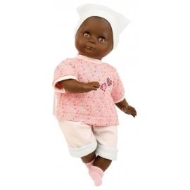 Schildkröt Puppe Schlummerle schwarz 32 cm mit Malhaar und braunen Schlafaugen, Kleidung rose/mint/w