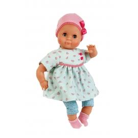Schildkröt Puppe Schlummerle 32 cm mit Malhaar und braunen Schlafaugen, Herzchenkleid