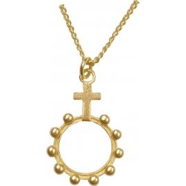Halskette mit Rosenkranzanhänger (vergoldet)