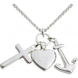 Halskette mit Kreuz-, Herz- und Ankeranhänger (versilbert)