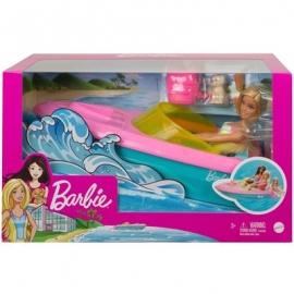 Mattel - Barbie - Boot-Spielset mit Puppe inkl. Haustier Hündchen und Zubehör