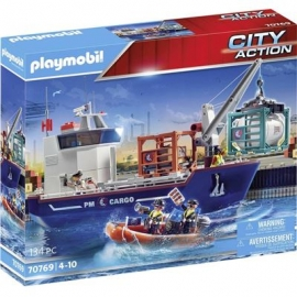 Playmobil® 70769 - City Action - Großes Containerschiff mit Zollboot